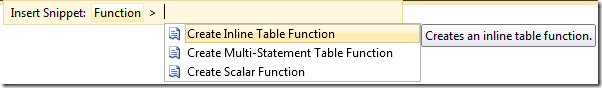 SSMS Denali IntelliSense - choosing snippet