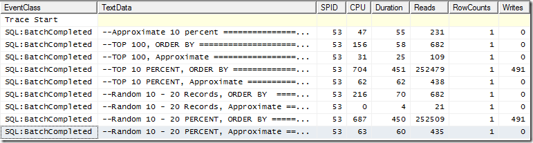 Queries comparison profiler trace output