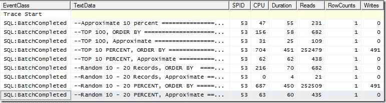 Queries comparison profiler trace output
