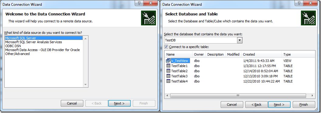 Excel Data Connection Wizard