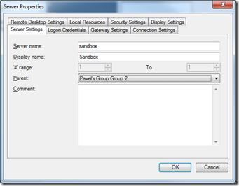 Server Properties in Remote Desktop Connection Manager