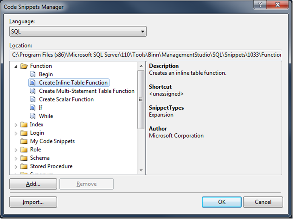 SSMS Denali - Code Snippets Manager
